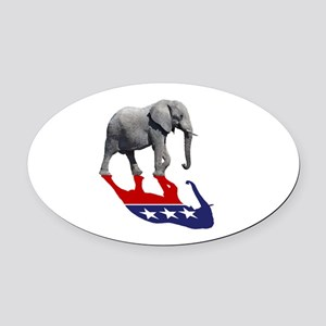 Republican Elephant Shadow Oval Car Magnet