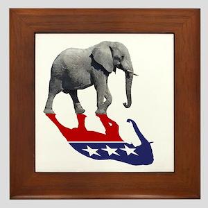 Republican Elephant Shadow Framed Tile