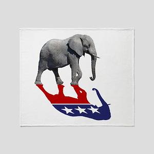 Republican Elephant Shadow Throw Blanket