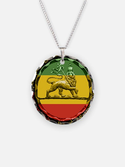 Reggae Music Lion of Judah Necklace Circle Charm