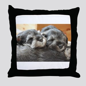 Snoozing Schnauzer Puppies Throw Pillow