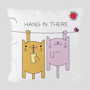 adopt, cat, cats, gimme shelte Woven Throw Pillow