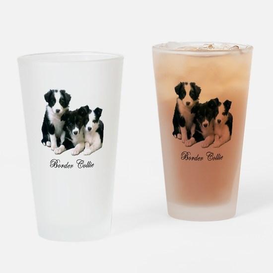 Border Collie Puppies Drinking Glass