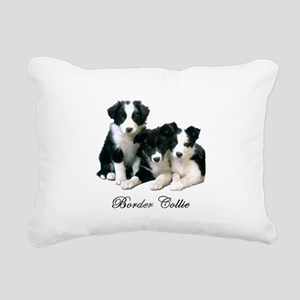 Border Collie Puppies Rectangular Canvas Pillow