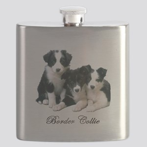 Border Collie Puppies Flask