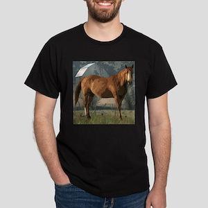 Horse in country scene Dark T-Shirt