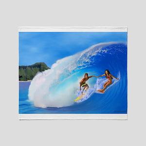 SURFING OAHU Throw Blanket
