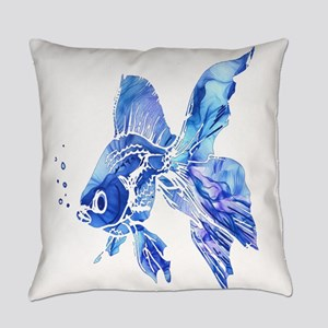 Blue Watercolor Goldfish Everyday Pillow