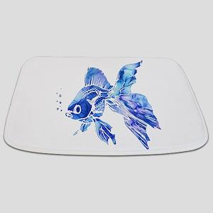 Blue Watercolor Goldfish Bathmat
