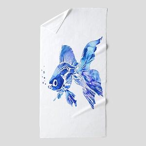 Blue Watercolor Goldfish Beach Towel