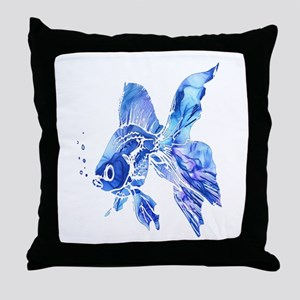 Blue Watercolor Goldfish Throw Pillow