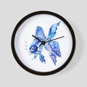 Blue Watercolor Goldfish Wall Clock