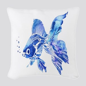 Blue Watercolor Goldfish Woven Throw Pillow