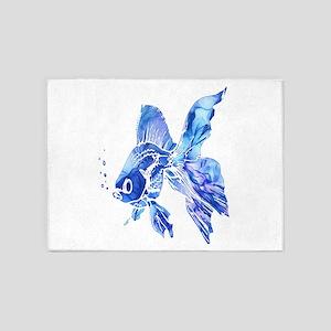 Blue Watercolor Goldfish 5'x7'Area Rug