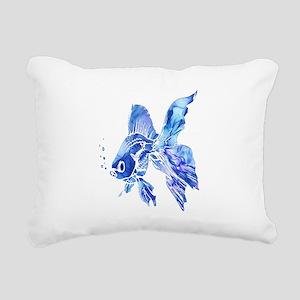 Blue Watercolor Goldfish Rectangular Canvas Pillow