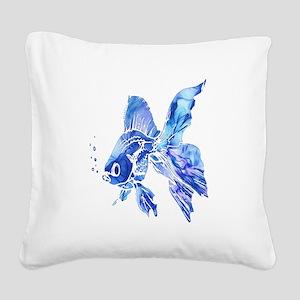 Blue Watercolor Goldfish Square Canvas Pillow
