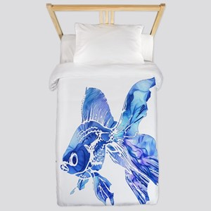 Blue Watercolor Goldfish Twin Duvet Cover
