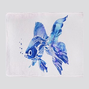 Blue Watercolor Goldfish Throw Blanket