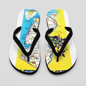New Jersey Map Greetings Flip Flops