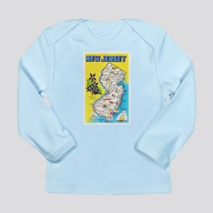 New Jersey Map Greetings Long Sleeve Infant T-Shir