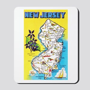 New Jersey Map Greetings Mousepad
