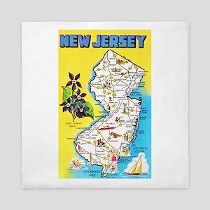New Jersey Map Greetings Queen Duvet