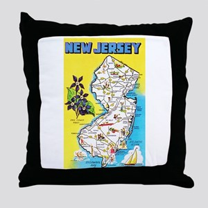 New Jersey Map Greetings Throw Pillow