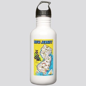 New Jersey Map Greetings Stainless Water Bottle 1.