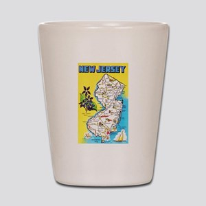 New Jersey Map Greetings Shot Glass