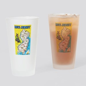 New Jersey Map Greetings Drinking Glass