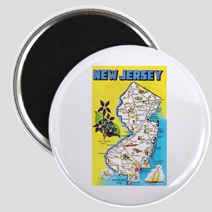 New Jersey Map Greetings Magnet