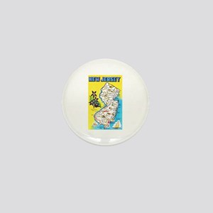 New Jersey Map Greetings Mini Button