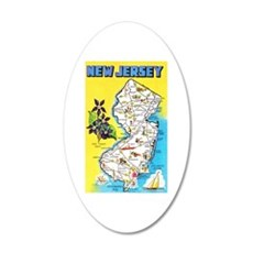 New Jersey Map Greetings Wall Decal