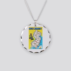 New Jersey Map Greetings Necklace Circle Charm