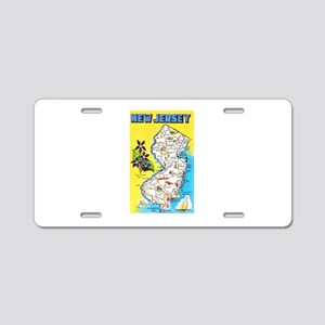 New Jersey Map Greetings Aluminum License Plate