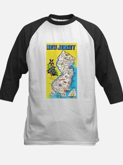 New Jersey Map Greetings Kids Baseball Jersey