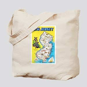 New Jersey Map Greetings Tote Bag