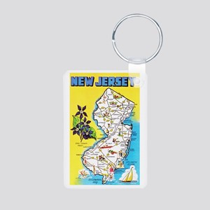 New Jersey Map Greetings Aluminum Photo Keychain