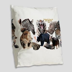 SA Zoo Burlap Throw Pillow