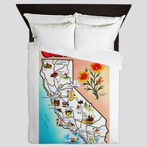 California Map Greetings Queen Duvet