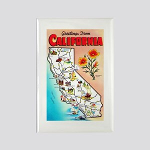 California Map Greetings Rectangle Magnet