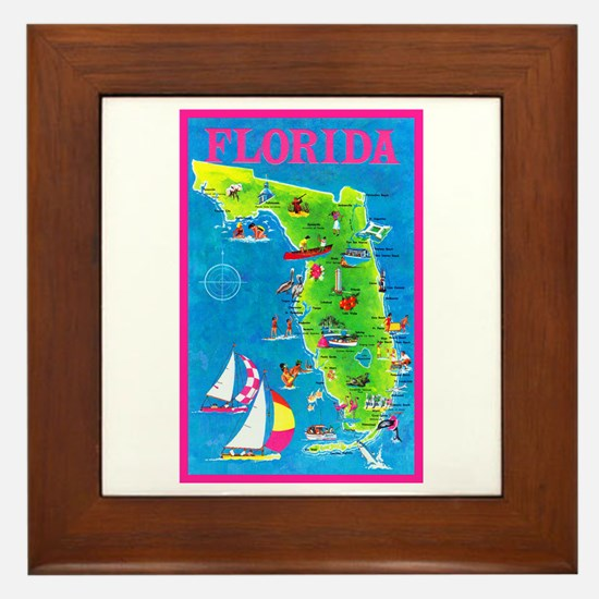 Florida Map Greetings Framed Tile