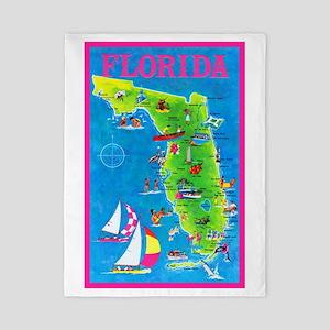 Florida Map Greetings Twin Duvet