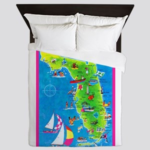 Florida Map Greetings Queen Duvet