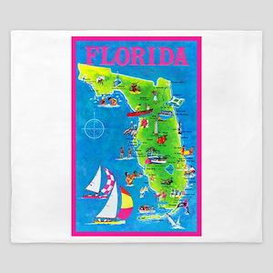 Florida Map Greetings King Duvet