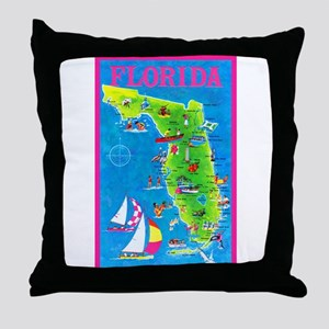 Florida Map Greetings Throw Pillow