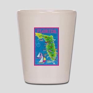Florida Map Greetings Shot Glass