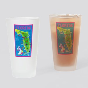 Florida Map Greetings Drinking Glass