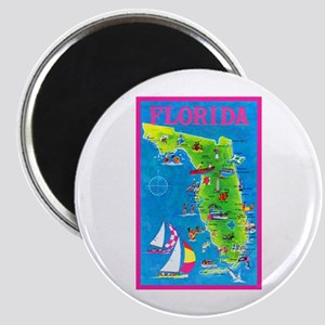 Florida Map Greetings Magnet
