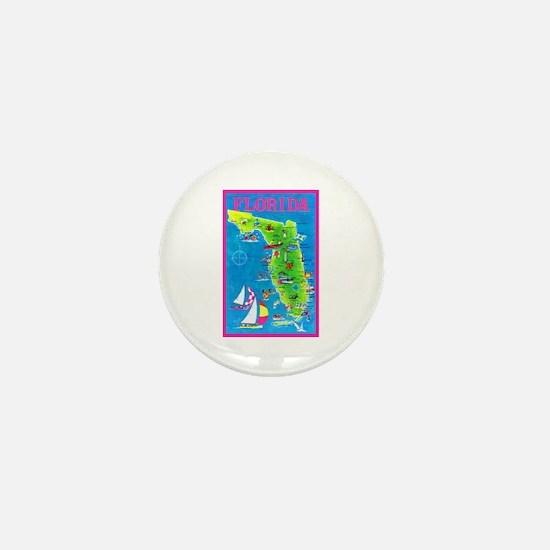 Florida Map Greetings Mini Button